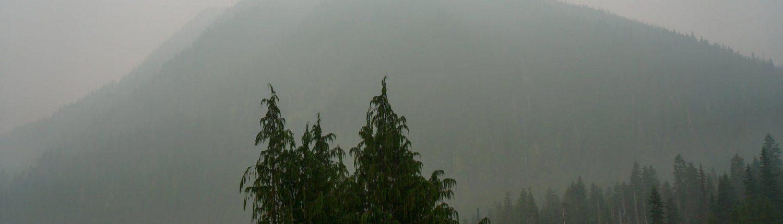 Smoke Obscured View of Wellesley Peak