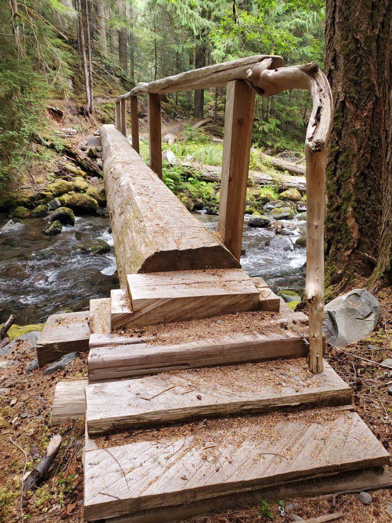 Log Bridge with Natural Railing