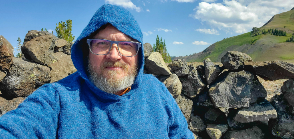 Hunkering down in a windbreak near camp.
